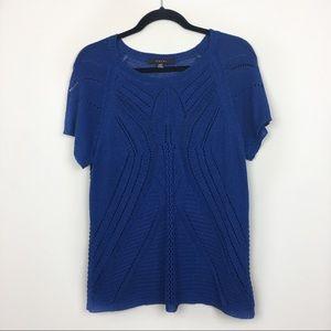 3/$15 Fever- Blue Sheer Short Sleeves Blouse